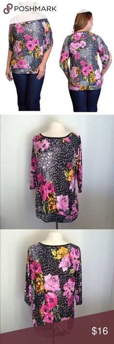 """(Plus) Floral top Length: 31"""" • Bust: 41"""" Materials: 92% rayon/ 8% spandex. Lightweight and slightly banded at the bottom. The sleeves are elbow length. Very soft! Semi sheer  Availability- 2 ⭐️This item is brand new from manufacturer without tags. Boutique tags added on request.  🚫NO TRADES 💲Price is firm unless bundled 💰Ask about bundle discounts Tops Tees - Long Sleeve"""