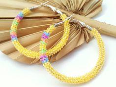 Yellow Beaded Hoop Earrings, Pastel Color Wire Wrap Hoop Earrings, Easter Inspired Gifts for Girlfriend Best Friends Teenagers,  Large Hoops by ChristalDreamz on Etsy