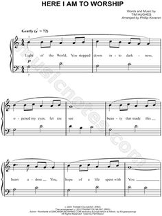 digital sheet music (easy piano) for 'Here I Am To Worship' at Musicnotes Easy Sheet Music, Easy Piano Sheet Music, Violin Sheet Music, Printable Sheet Music, Piano Music, Music Sheets, Easy Piano Songs, Church Songs, Kids Piano