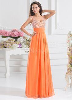 Vestido de fiesta de gasa de color naranja de diamantes de imitación - Milanoo.com