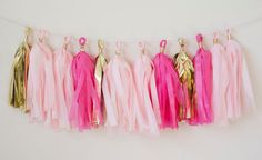 Lets celebrate with this classy pink&gold mylar tassel garland!    This tassel garland is great for:  weddings bridal showers  birthday parties