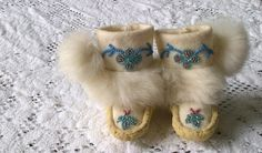 Handmade Tiny Floral Blue Beaded Baby Mukluks Moccasins with White Rabbit Fur & Pom-Poms on Etsy, $52.75