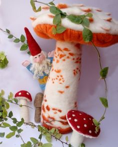 needle felted gnome and mushrooms