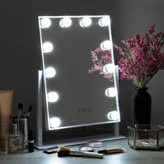 Hollywood Makeup Vanity Mirror w/ Smart Touch, Adjustable Color Temp, 12 LED Vanity Makeup Rooms, Mirrors For Makeup, Makeup Vanity Mirror, Makeup Mirror With Lights, Makeup Vanities, Bathroom Vanities, Best Lighting For Makeup, Cool Lighting, Vanity Table Vintage