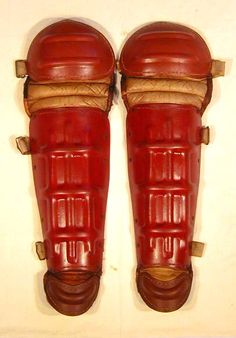 1930's Composition Baseball Shin Guards, rare style, complete with all straps and buckles
