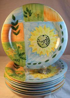 8 Tabletops Unlimited RARE DESERT FLOWER Plates 10 1/2 in. Sunflower Blue Orange #TabletopsUnlimited
