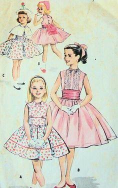 girls party dress,cape, cummerbund pattern so sweet mccalls patterns Vintage Outfits, Vintage Girls Dresses, Vintage Fashion, Vintage Sewing Patterns, Clothing Patterns, Dress Patterns, Mccalls Patterns, Moda Vintage, Vintage Mode
