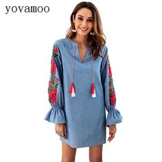 a97b5a0a1ba US $25.99 |Yovamoo Floral Embroidery Dress Casual Vintage Denim Blue Color  Drawstring V neck Lantern Long sleeved Loose Dresses Women-in Dresses from  ...