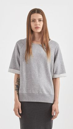 Rag & Bone Joanna Short Sleeve Sweatshirt in Grey Melange | The Dreslyn