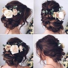 Best Hairstyles for Brides Elegant Messy Bun Updo- Amazing Hair Styles and Loo