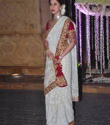 Urmila Matondkar Georgette Zari Work Off White Bollywood Designer Saree - Bollywood Designer Sarees, Bollywood Lehenga, Bollywood Dress, Bollywood Wedding, Lehenga Saree, Bollywood Fashion, Indian Bollywood, Cotton Lehenga, Saree Blouse