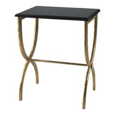 Antiqued gold-finished iron end table with a black beveled marble top.    Product: End table    Construction Material: