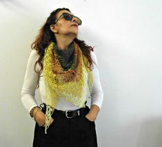 rainbow triangle shawl crochet bandana scarf linen by cosediisa