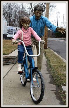 """First Ride"" sculptures by J. Seward Johnson, Jr.;  photo by Brooklyn Bridge Baby, via Flickr"