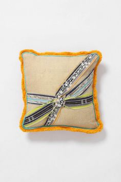 throw pillow with ribbon knot