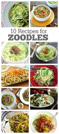 10 Delicious Recipes for Zoodles (zucchini noodles) : a great low-carb, low-fat, low-calorie way to eat dinner. To get started can mix Zoodles into pasta. Zoodle Recipes, Spiralizer Recipes, Vegetable Recipes, Vegetarian Recipes, Healthy Recipes, Delicious Recipes, Healthy Foods, Veggetti Recipes, Healthy Cooking