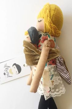 Sewing Toys Mend by Ruby Grace doll with baby Doll Crafts, Diy Doll, Little Presents, Baby Sewing Projects, Toy Craft, Craft Books, Fabric Dolls, Rag Dolls, Sewing Dolls