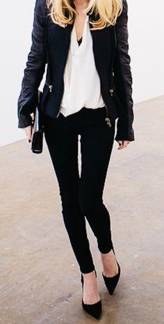 #whiteblouse #leatherjacket