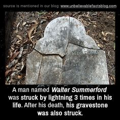 Did you know that a man named Walter Summerford was struck by lightning 3 times in… Wow Facts, Real Facts, Wtf Fun Facts, Random Facts, True Facts, Cool Stuff, Scary Stuff, Creepy Facts, Strange Facts
