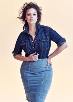 Looking for luxury plus size fashion? What about high end plus size denim? Ashley Graham and Marina Rinaldi partnered up for a new denim collection! Plus Size Chic, Looks Plus Size, Moda Plus Size, Big Girl Fashion, Curvy Fashion, Plus Size Fashion, Fashion Top, Plus Size Dresses, Plus Size Outfits