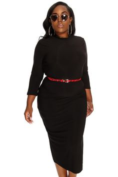 Black Sexy Midi Plus Size Party Dress