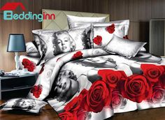Sweet Marilyn Monroe and Red Rose Print 4-Piece Duvet Cover Sets #marilynmonroeitems