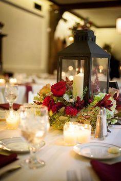 20 perfect centerpieces for romantic winter wedding ideas winter romantic fall wedding centerpiece idea red roses black lanterns votives artful weddings junglespirit Images