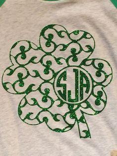 Monogram. St. Patricks Day RaglanGlitter by ExpressYourselfbySta