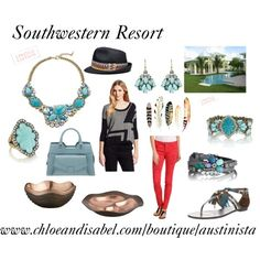 """Southwestern"" by austinista-ccl on Polyvore Get the look on my boutique at www.chloeandisabel.com/boutique/austinista and join me on FB for style tips at www.facebook.com/rachaelforchloeandisabel and https://www.facebook.com/groups/252188421622877 #gifts #fashion #style #styleinspiration #Valentine #retro #vintage #boho #chic #accessories #spring #gold #silver #turquoise #yellow #vintage #orange #necklace #bracelet #ring #jewelry #blue #coral #red #black  #Spring #Summer #tribal #southwest"