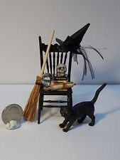 Dollhouse Miniature  Halloween Witch Chair Scene   1:12   1 inch scale