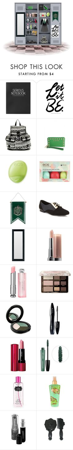 """Slytherin Locker"" by lex-ydg ❤ liked on Polyvore featuring Topshop, New Look, MICHAEL Michael Kors, Eos, Miss Selfridge, Maybelline, Too Faced Cosmetics, Glo Minerals, Lancôme and Shiseido"