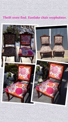 Bought These Matching Eastlake Chairs At The Thrift Store And  Reupholstered. Total Cost Of Project