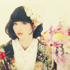 kimono × short bob hair