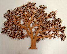 """Oak tree, 48"""" wide.  Laser cut Cherry veneer wood, 1/2"""" thick"""