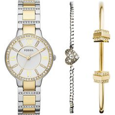 Fossil Virginia Watch and Bracelet Set Women's (€135) ❤ liked on Polyvore featuring jewelry, watches, bracelets, accessories, fashion accessories, metalic, stainless steel wrist watch, stainless steel jewellery, fossil wrist watch and stainless steel watches