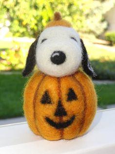 SNOOPY  Needle Felted  Great Pumpkin  by HeartFeltCustoms on Etsy