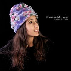 French Fiber Art Hat Unique Sculptural Nuno Felt by ArianeMariane