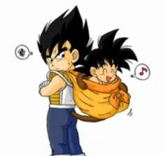 Kid Goku and Kid Vegeta by foxsilong
