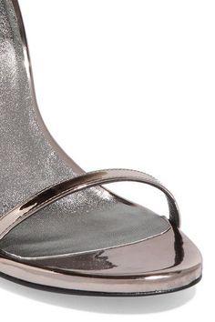 Stuart Weitzman - Nudist Metallic Leather Sandals - Charcoal