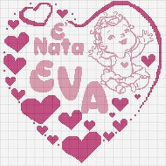È nata.... Hama Beads Patterns, Beading Patterns, Cross Stitch Baby, Cross Stitch Embroidery, Handmade Baby, Sweet Girls, Alphabet, Kids Rugs, Crafts