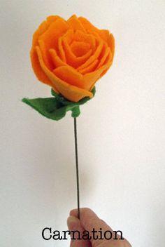 Felt Carnation Felt flower market por SazzleandMogie en Etsy