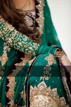 soooo beautiful n d color is jus perfect Green Wedding Dresses, Pakistani Wedding Dresses, Pakistani Bridal, Pakistani Outfits, Indian Bridal, Indian Dresses, Indian Outfits, Bridal Dresses, Walima Dress