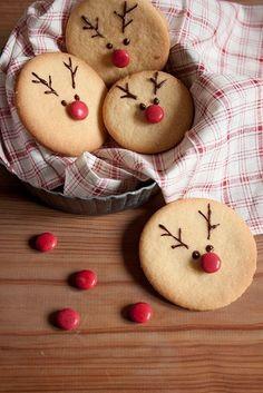 Simple cookies decorated as reindeer.