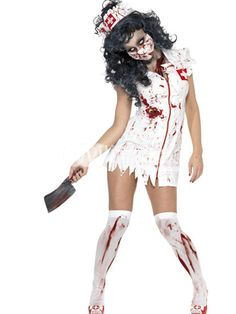 Zombie Nurse Satin Scary Halloween Costume - Milanoo.com