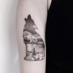Howling wolf landscape tattoo by Marabou