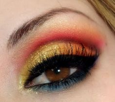 Gold and pink eye shadow