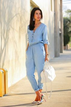 chambray jumpsuit with floral heels