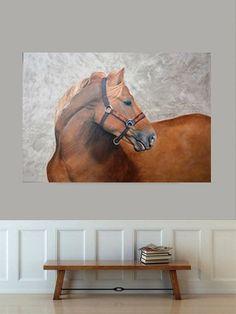 Peinture originale, huile sur toile. Horses, Animals, Oil On Canvas, Animales, Animaux, Animais, Horse, Words, Animal