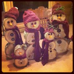 Image result for how to make a snowman out of logs