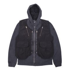 Unique new premium brushed cotton zip-up hooded sweatshirt from Stone Island Shadow Project. This lovely garment dyed piece features a removable nylon metal Watro vest which can be worn on its own.